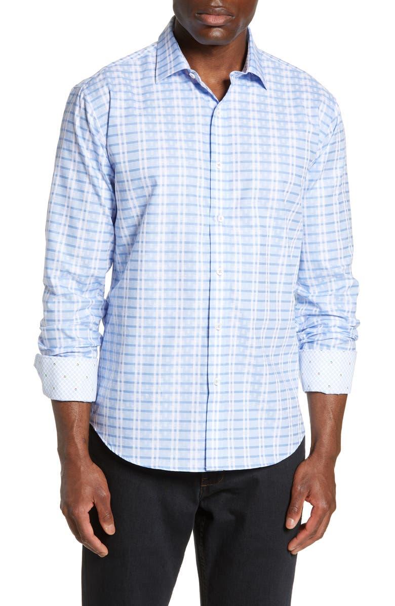 BUGATCHI Shaped Fit Check Shirt, Main, color, SKY