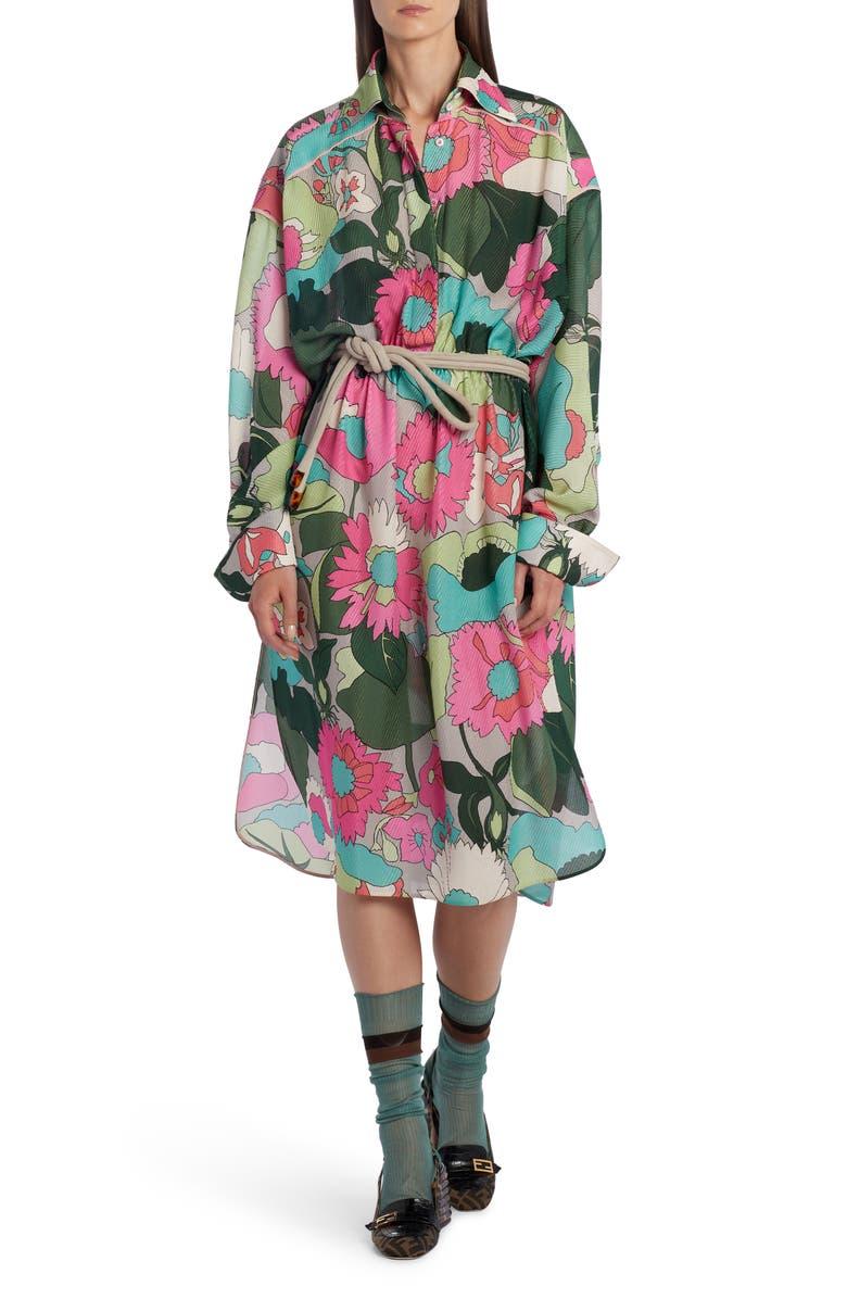 FENDI Floral Long Sleeve Silk Shirtdress, Main, color, CEDAR