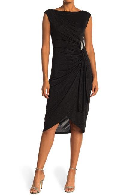 Image of London Times Glitter Ruched Tulip Hem Midi Dress