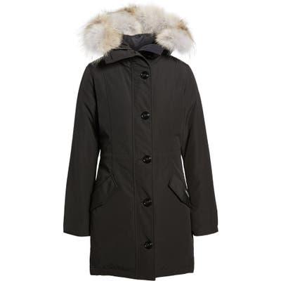Canada Goose Rossclair Genuine Coyote Fur Trim Down Parka, Black