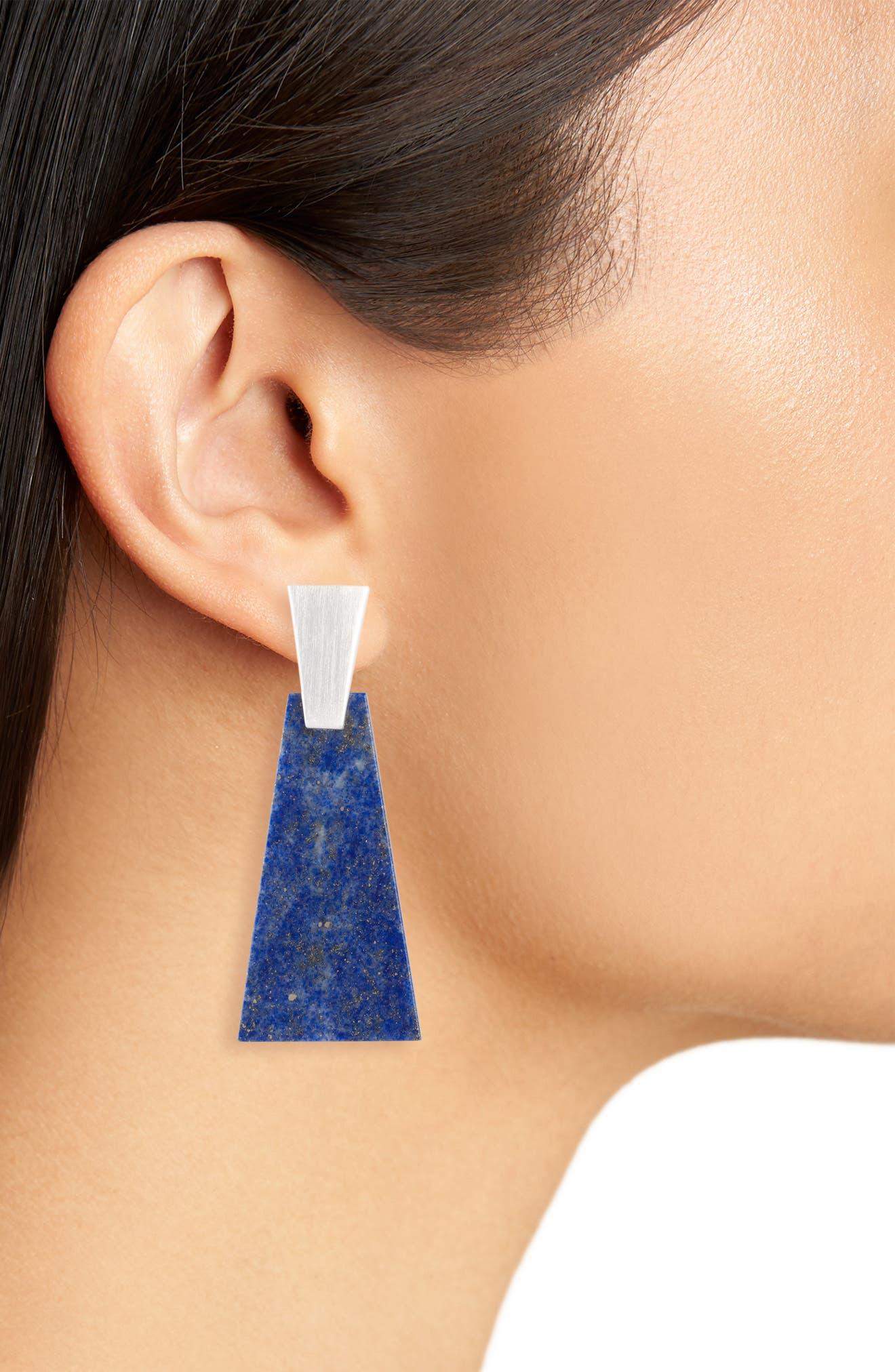 New Kendra Scott Collins Drop Earrings in Blue Lapis Silver