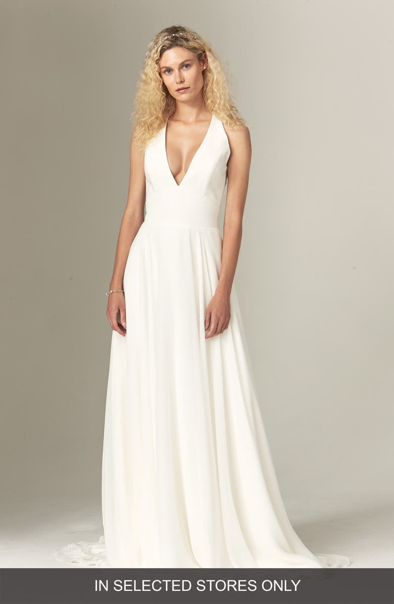 SAVANNAH MILLER Elizabeth Halter Wedding Dress, Main, color, IVORY