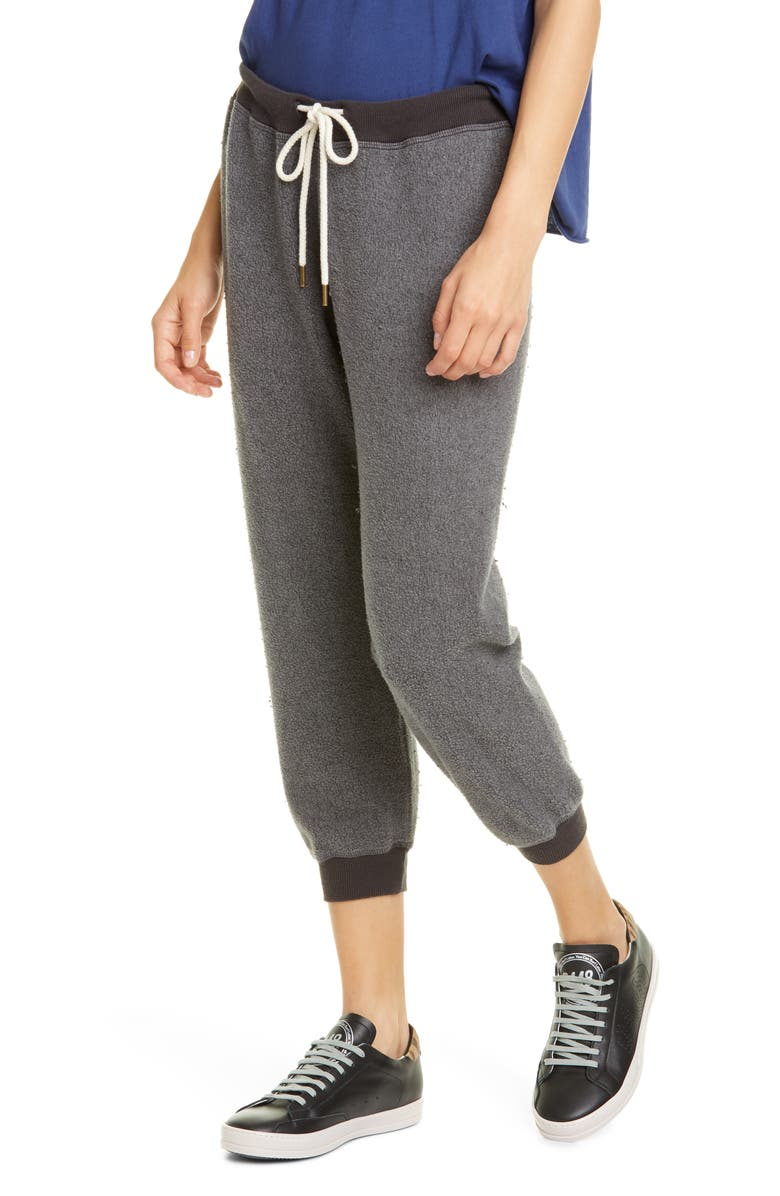 THE GREAT. The Cropped Sweatpants, Main, color, WASHED BLACK