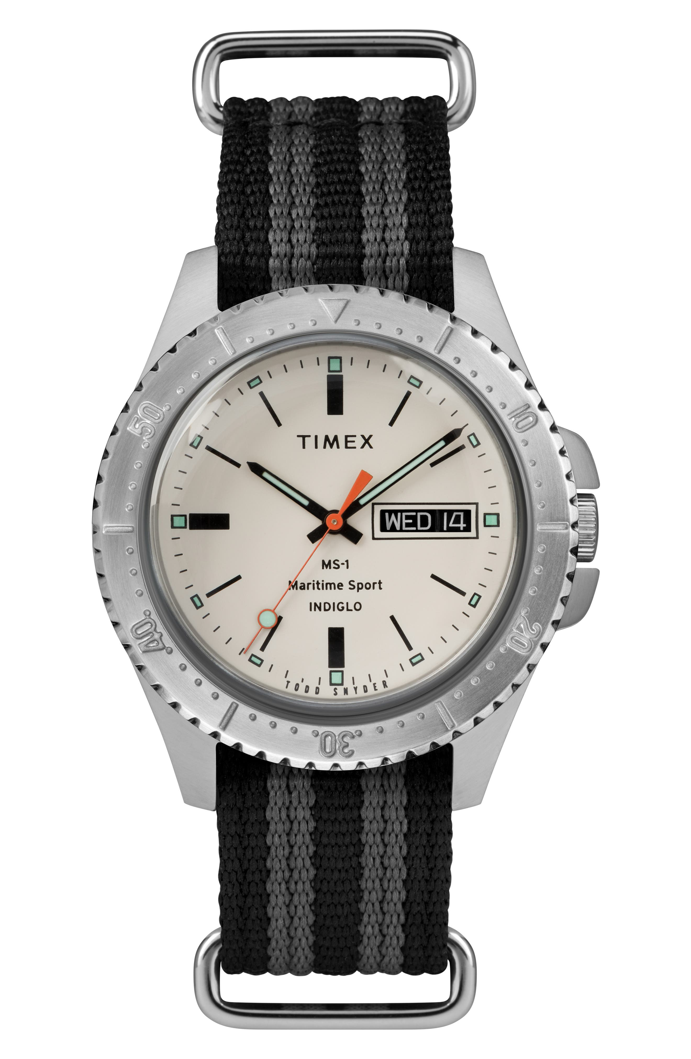 ,                             The Maritime NATO Strap Watch, 41mm,                             Main thumbnail 1, color,                             WHITE/ BLACK/ GREY