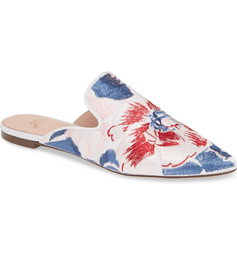 J.CREW Brocade Pointy Toe Slide, Main, color, 400