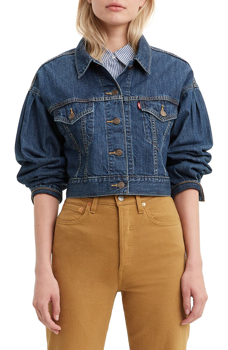 LEVI'S<SUP>®</SUP> Pleated Sleeve Trucker Jacket, Main, color, 420