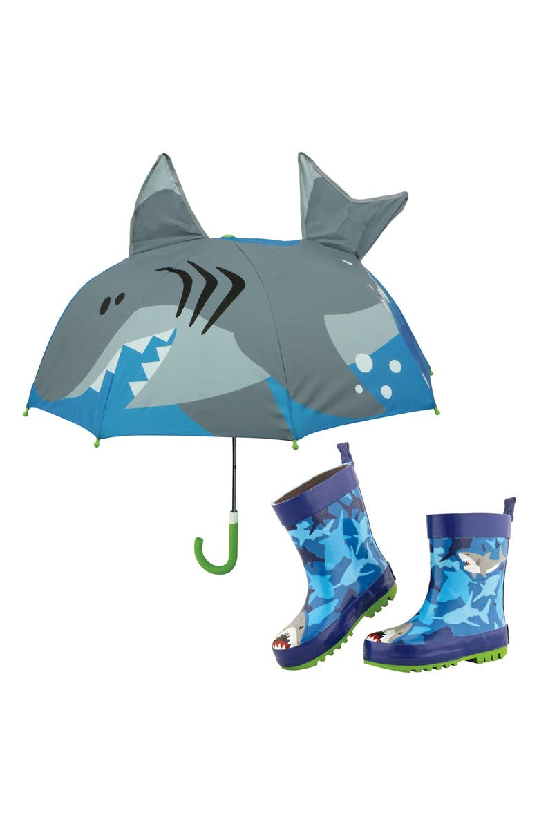 STEPHEN JOSEPH Print Rain Boots & Umbrella Set, Main, color, SHARK