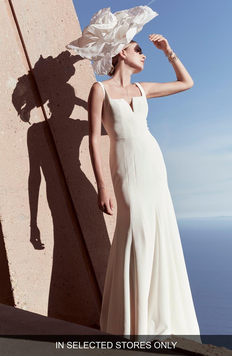 WATTERS Stephen Silk Georgette Wedding Dress, Main, color, IVORY