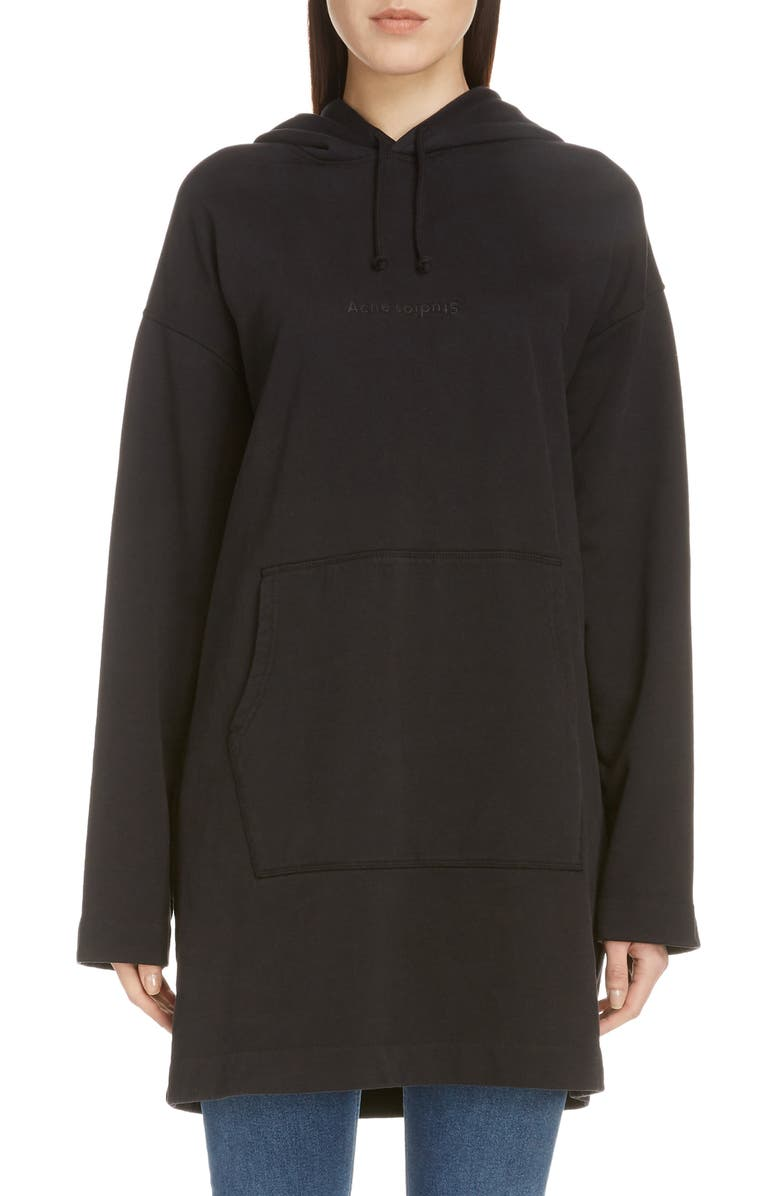 ACNE STUDIOS Filea Embossed Logo Longline Hoodie, Main, color, BLACK