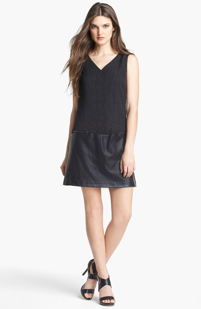 MARC NEW YORK by Andrew Marc Jacquard Faux Leather Drop Waist Dress, Main, color, 001