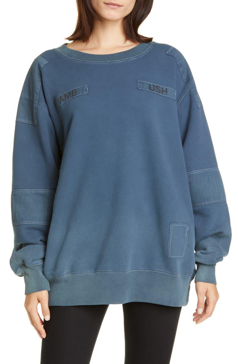 AMBUSH Bleach Patchwork Sweatshirt, Main, color, BLUE