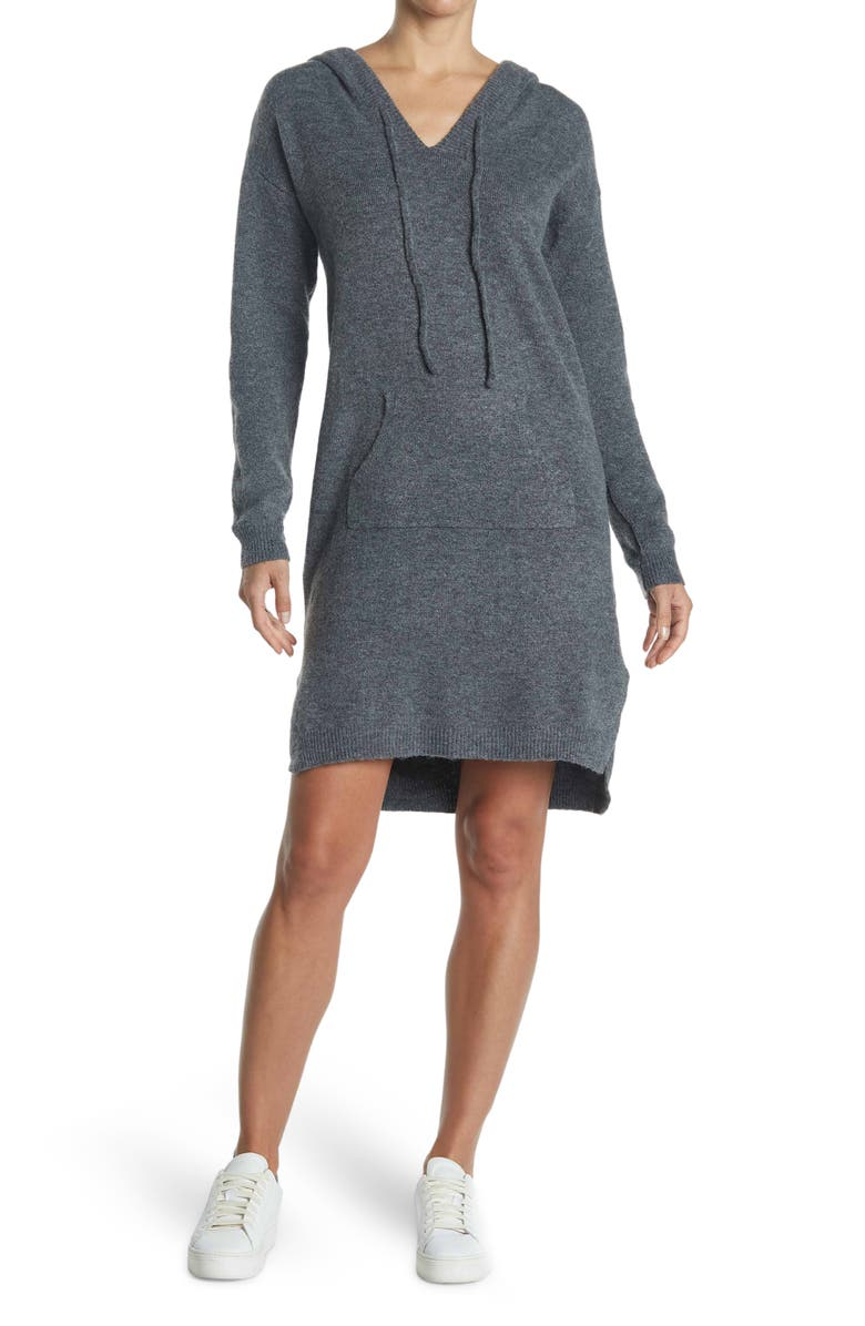 STITCHDROP Joey Hoodie Sweater Dress, Main, color, CHARCOAL