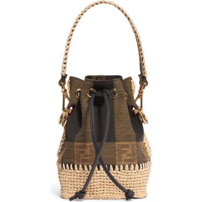 Fendi Mini Mon Tresor Jacquard Raffia Bucket Bag - Brown