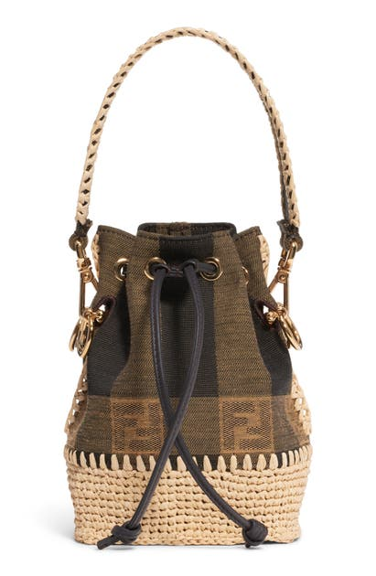 Fendi Shorts MINI MON TRESOR JACQUARD RAFFIA BUCKET BAG