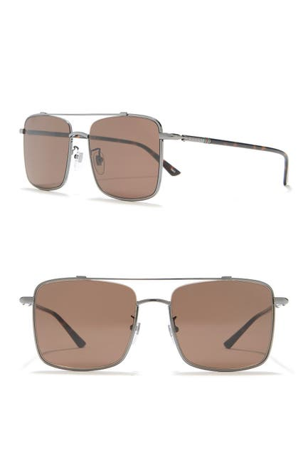 Image of GUCCI 56mm Brow Bar Square Sunglasses