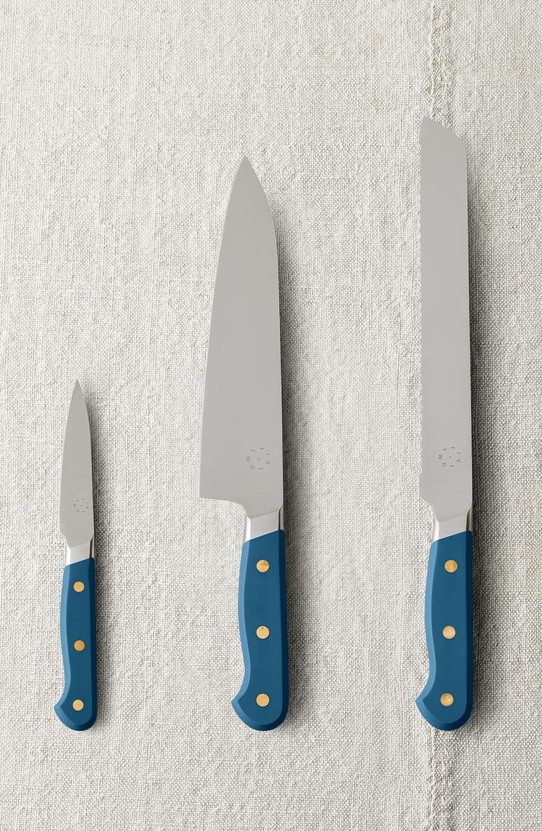 FIVE TWO BY FOOD52 Set of 3 Essential Knives, Main, color, NORDIC SEA