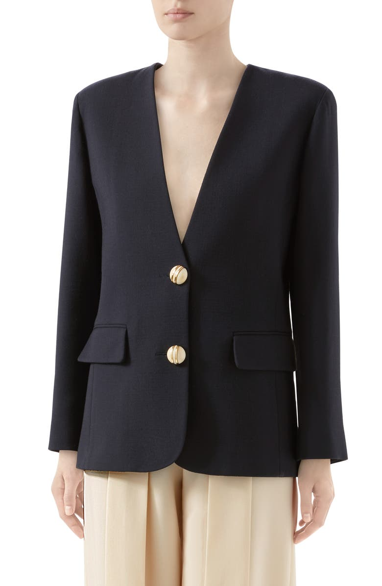 GUCCI Wool Crepe Blazer, Main, color, INK/ MIX