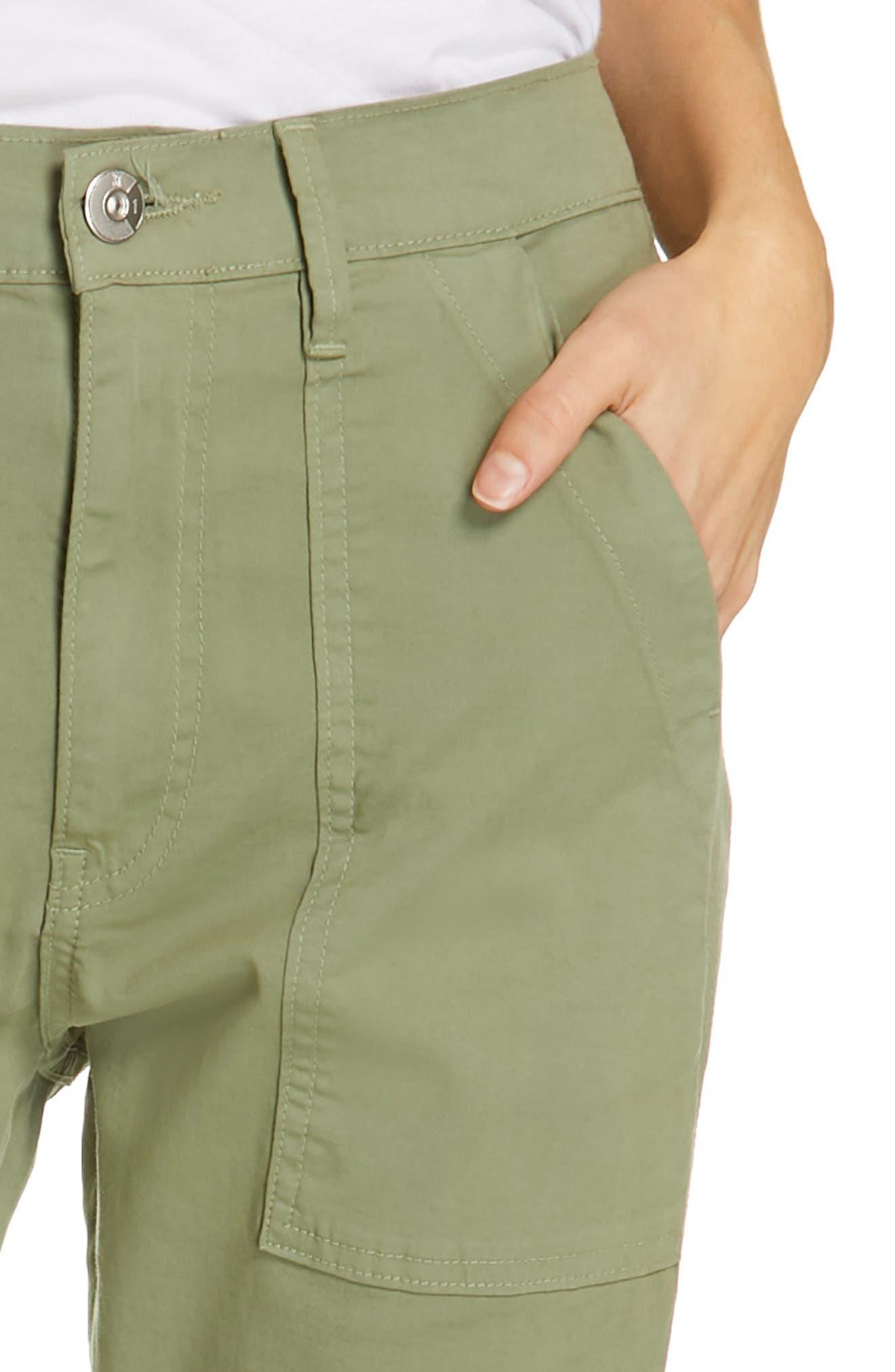,                             Simone Twill Crop Straight Leg Trousers,                             Alternate thumbnail 4, color,                             LIGHT MOSS