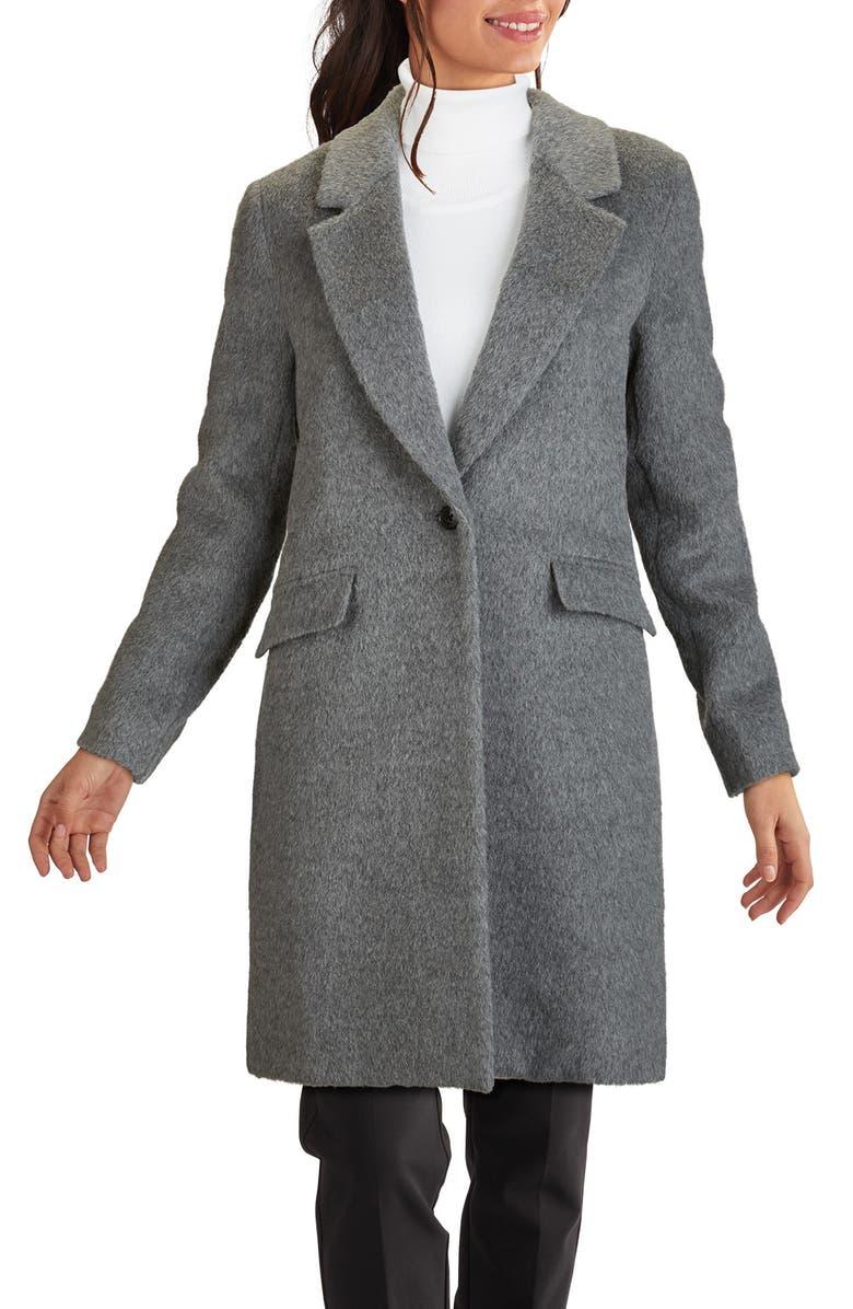 COLE HAAN SIGNATURE Wool & Alpaca Blend Coat, Main, color, MID GREY