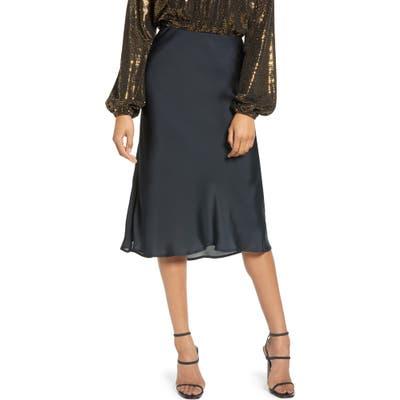 Leith Satin Midi Skirt, Black