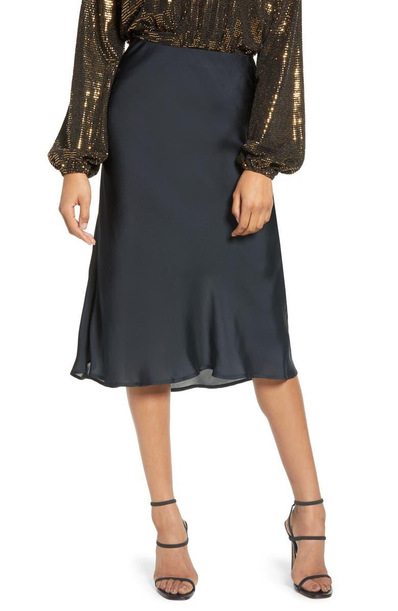 LEITH Satin Midi Skirt, Main, color, 002
