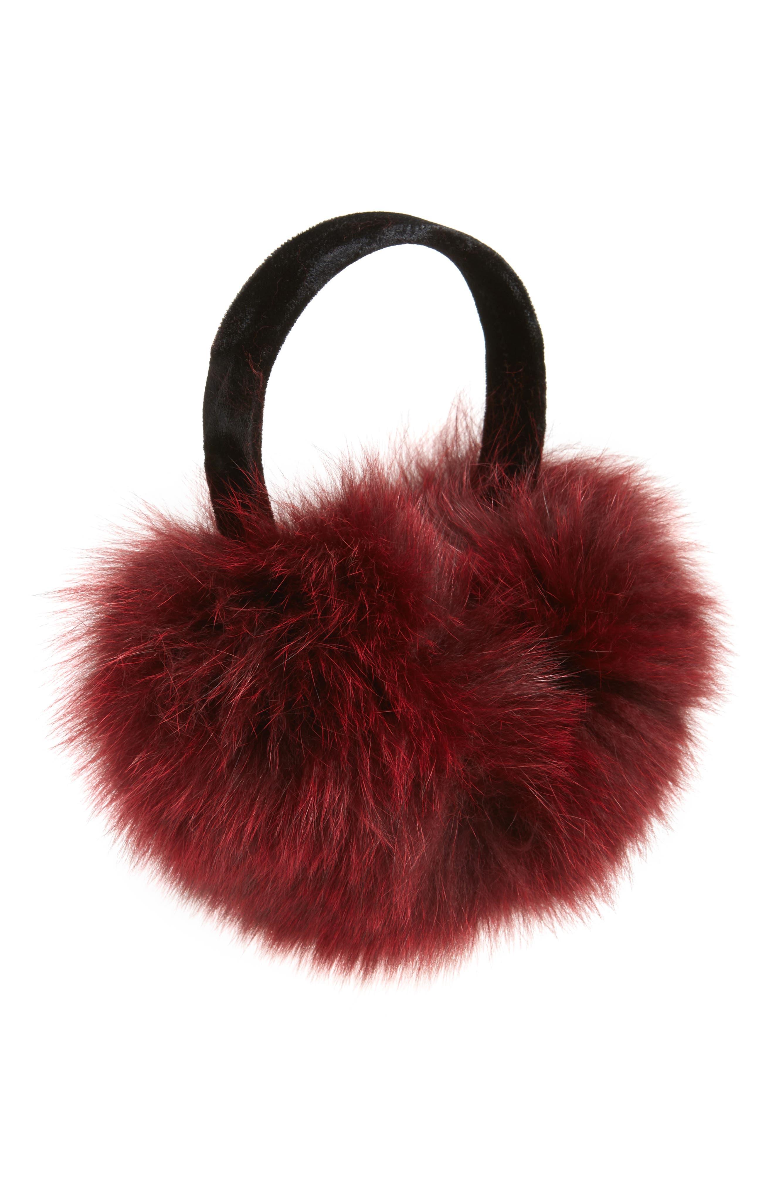 ,                             Genuine Fox Fur Earmuffs,                             Main thumbnail 7, color,                             931