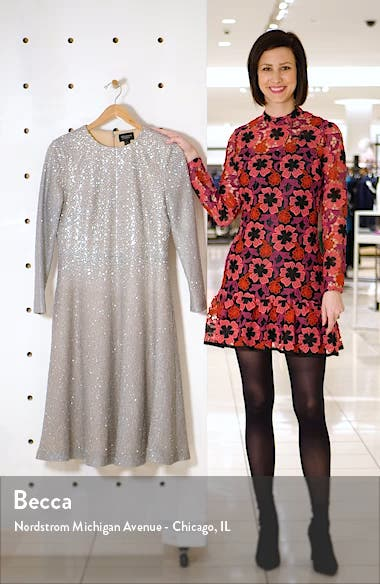 Embellished Netting Knit Fit & Flare Dress, sales video thumbnail