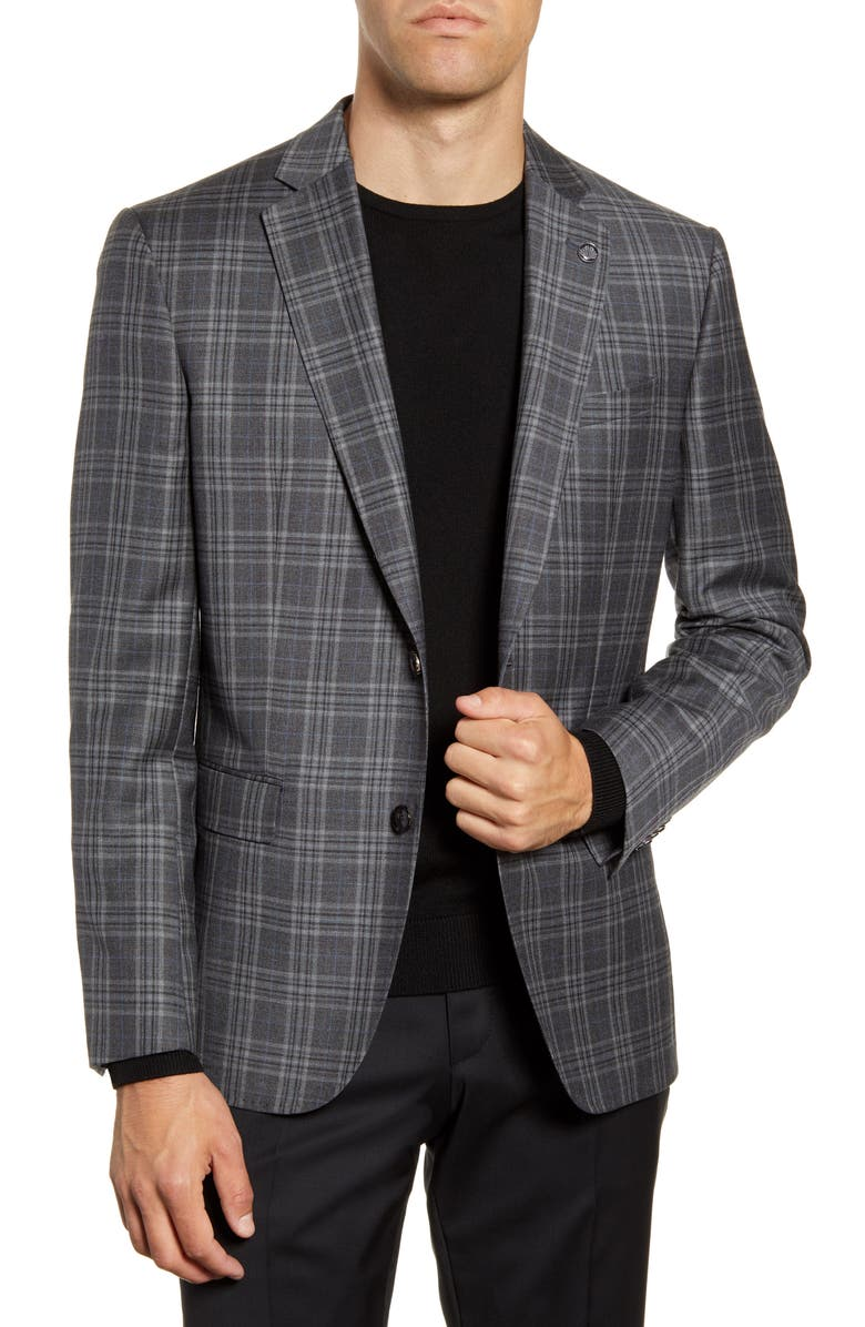 TED BAKER LONDON Jay Trim Fit Plaid Wool Sport Coat, Main, color, GREY