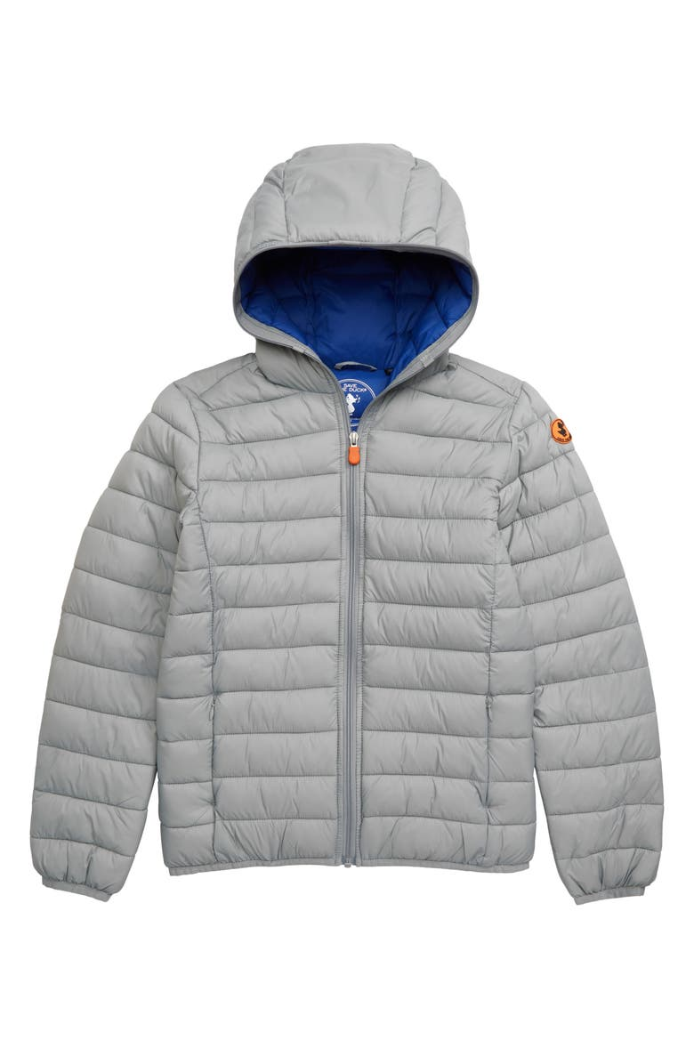SAVE THE DUCK Quilted Water Resistant Insulated Hooded Jacket, Main, color, SHARK GREY