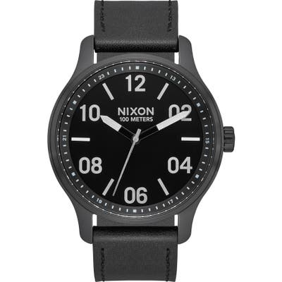 Nixon Patrol Leather Strap Watch, 42Mm