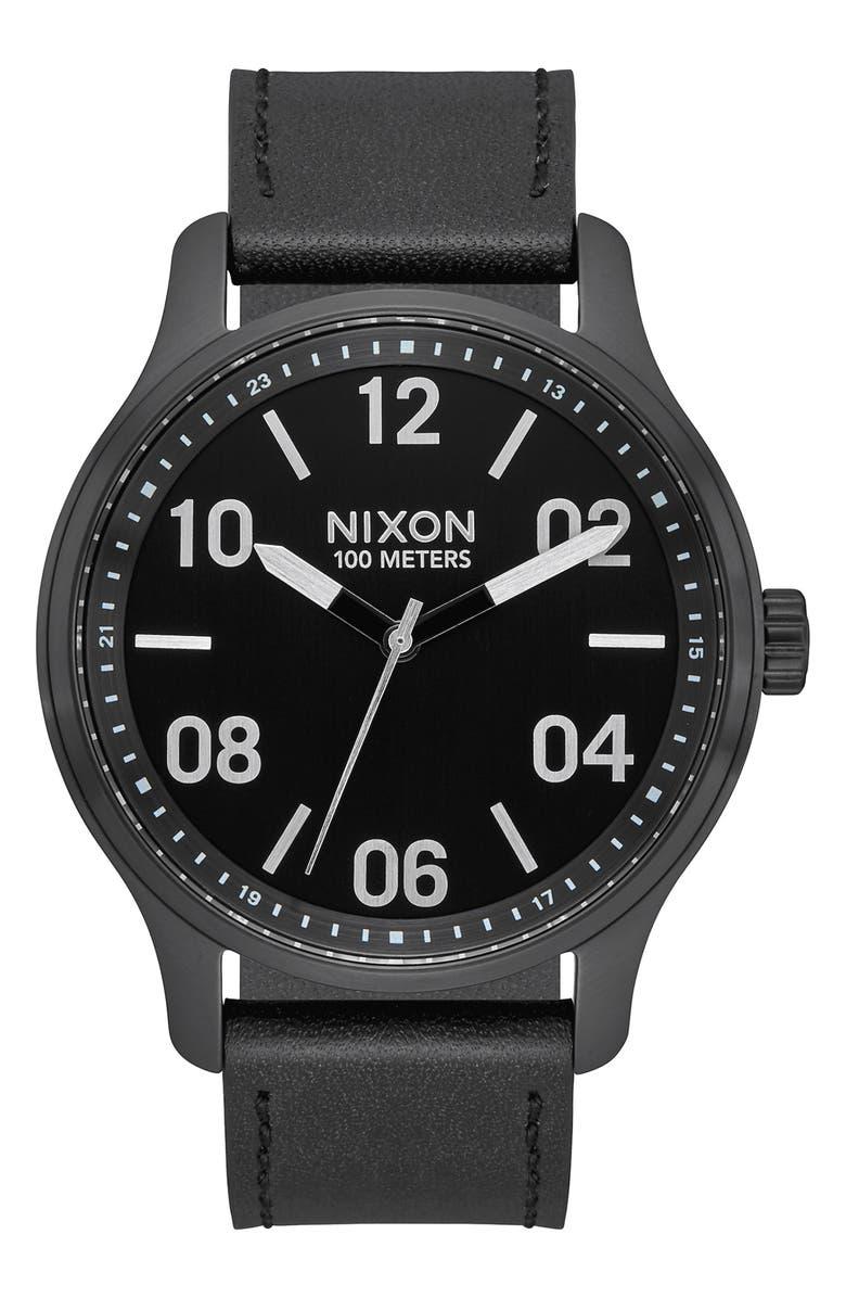 NIXON Patrol Leather Strap Watch, 42mm, Main, color, BLACK/ SILVER/ BLACK