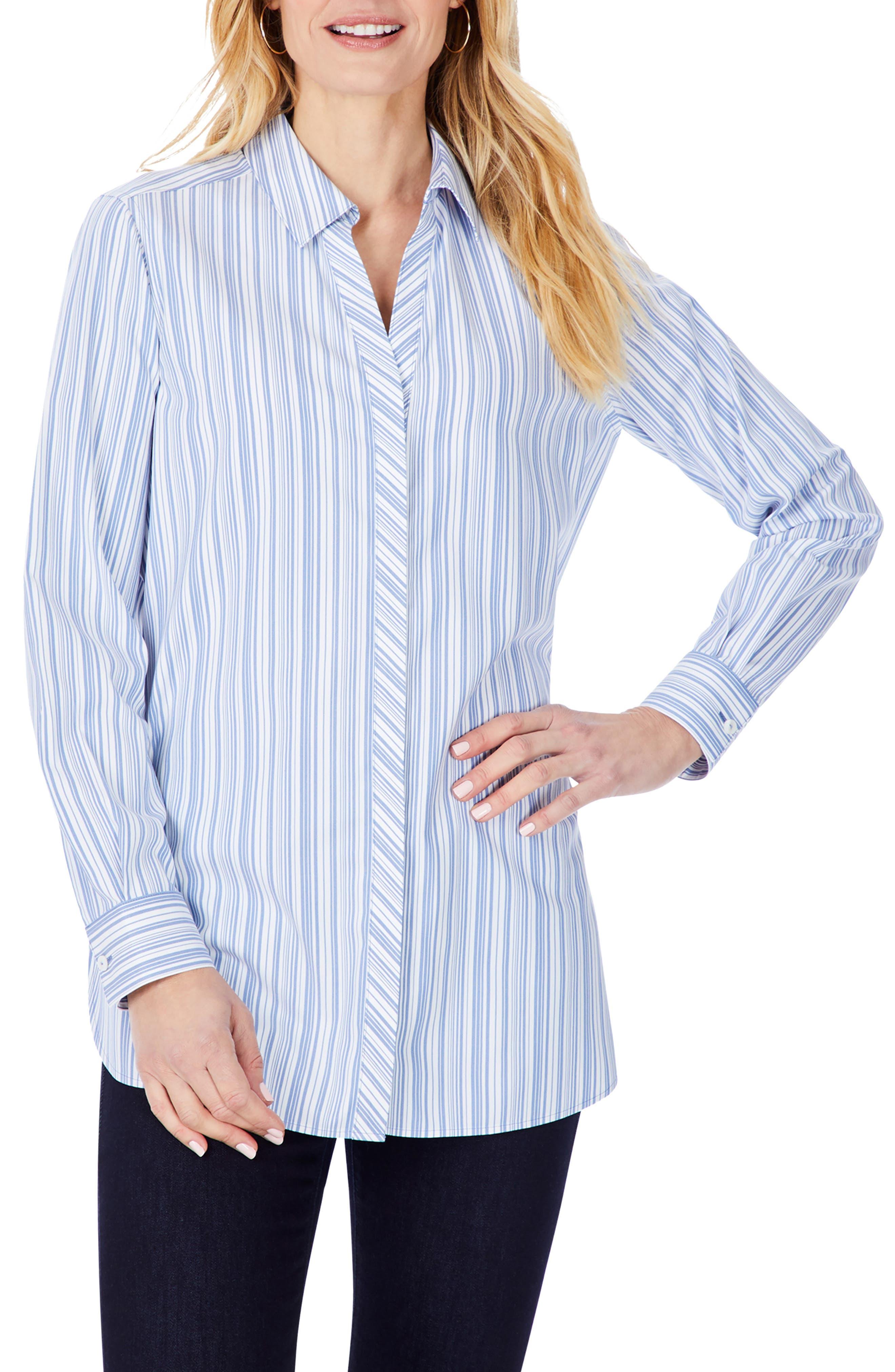 Vera Modern Mini Stripe Stretch Cotton Blend Shirt