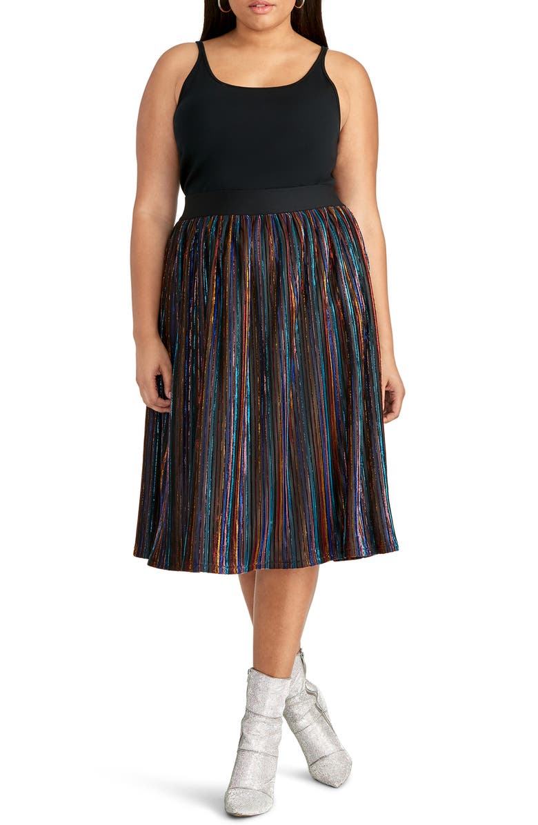 RACHEL Rachel Roy Madina Metallic Stripe Skirt Plus Size