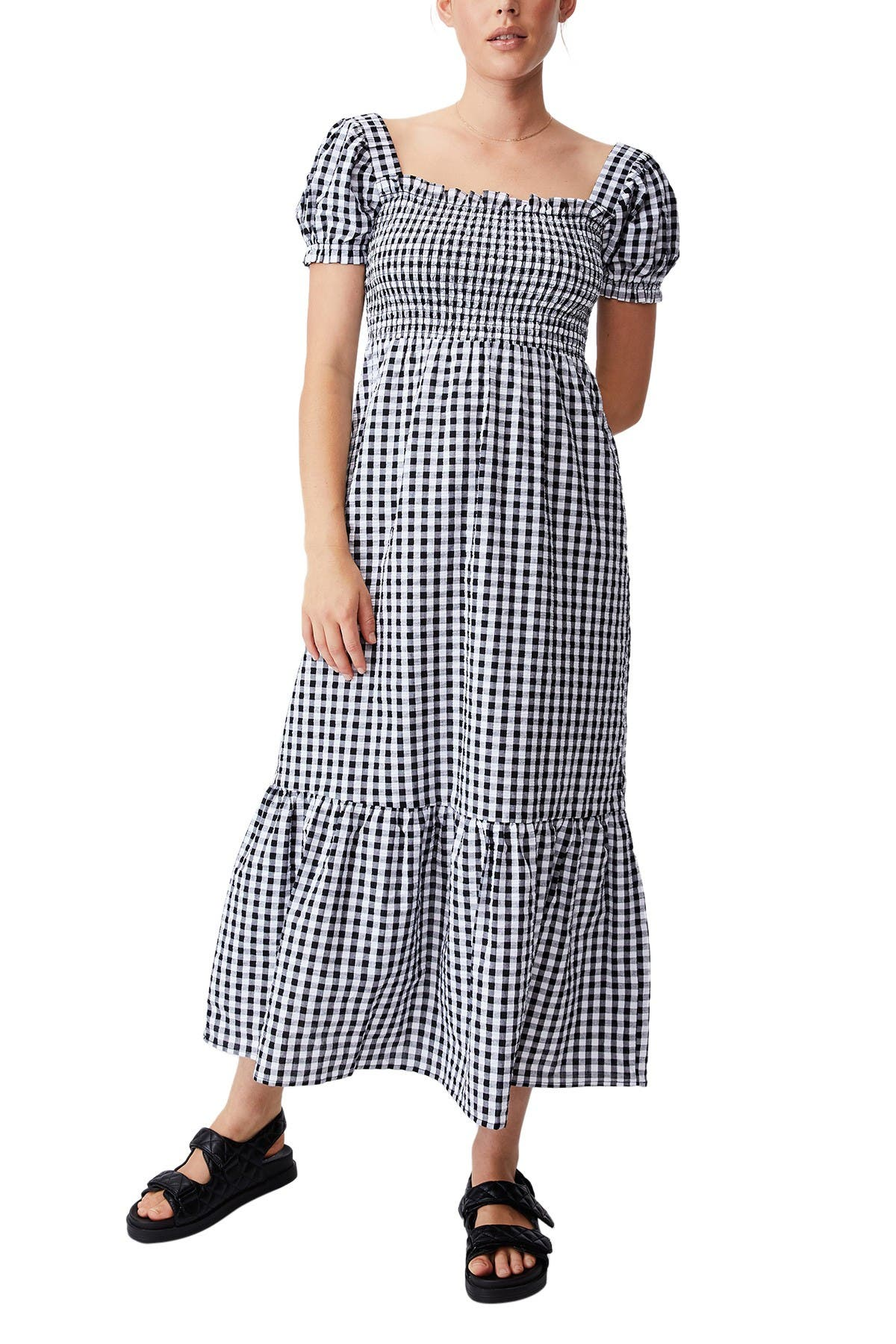 Cottagecore Clothing, Soft Aesthetic Cotton On Woven Louise Shirred Maxi Dress Size XL - Geri Gingham Black at Nordstrom Rack $49.99 AT vintagedancer.com