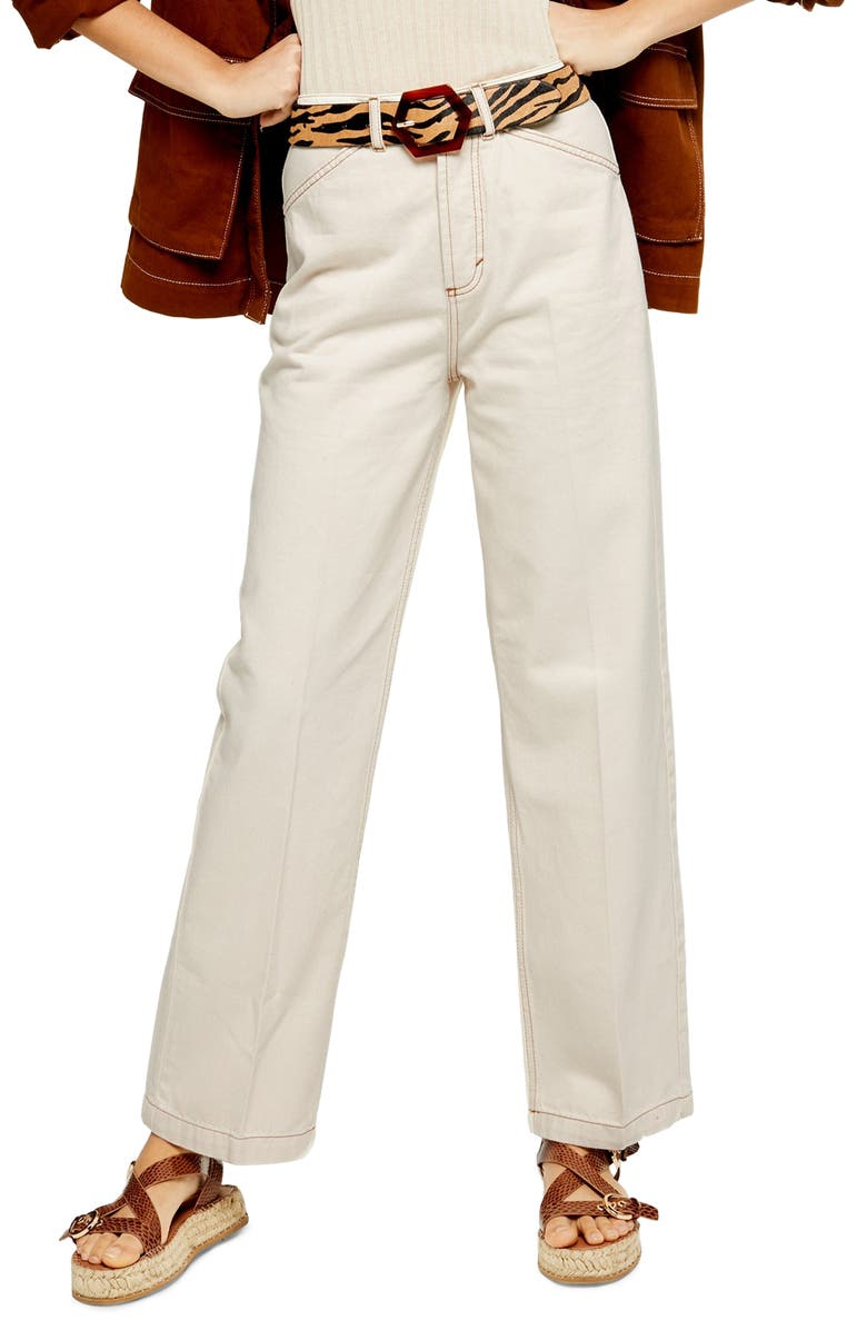 TOPSHOP Parallel Straight Leg Jeans, Main, color, CREAM