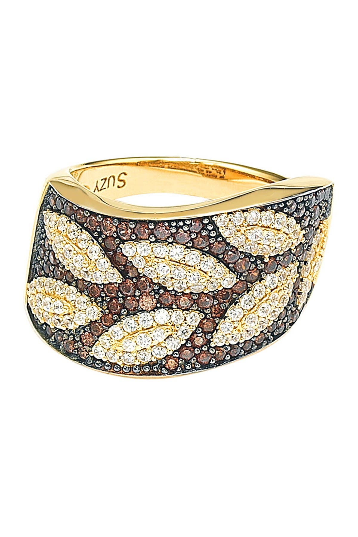 Image of Suzy Levian Brown & White CZ Gold Plated Sterling Silver Leaf Ring