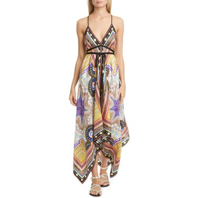 Etro Handkerchief Hem Silk Cover-Up Dress, Size One Size - Beige