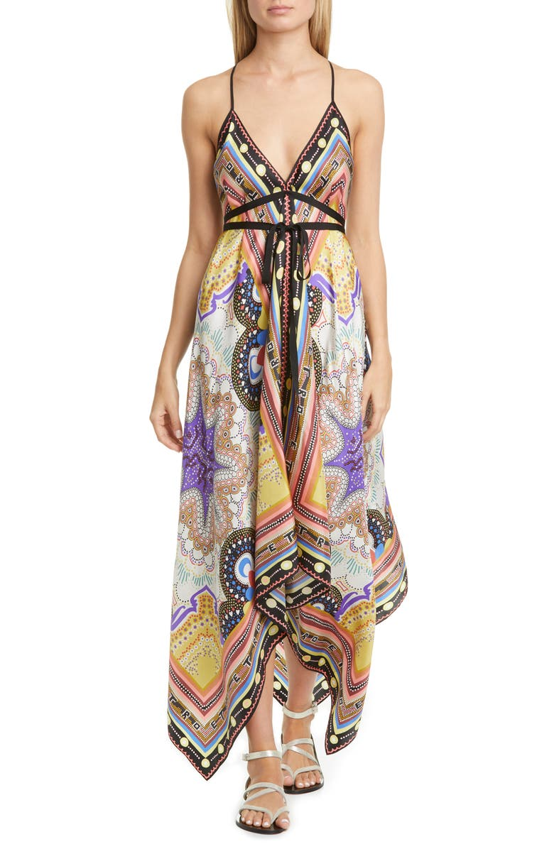 ETRO Handkerchief Hem Silk Cover-Up Dress, Main, color, BEIGE