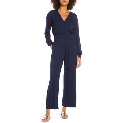 Fraiche By J Long Sleeve Wide Leg Jumpsuit, Blue