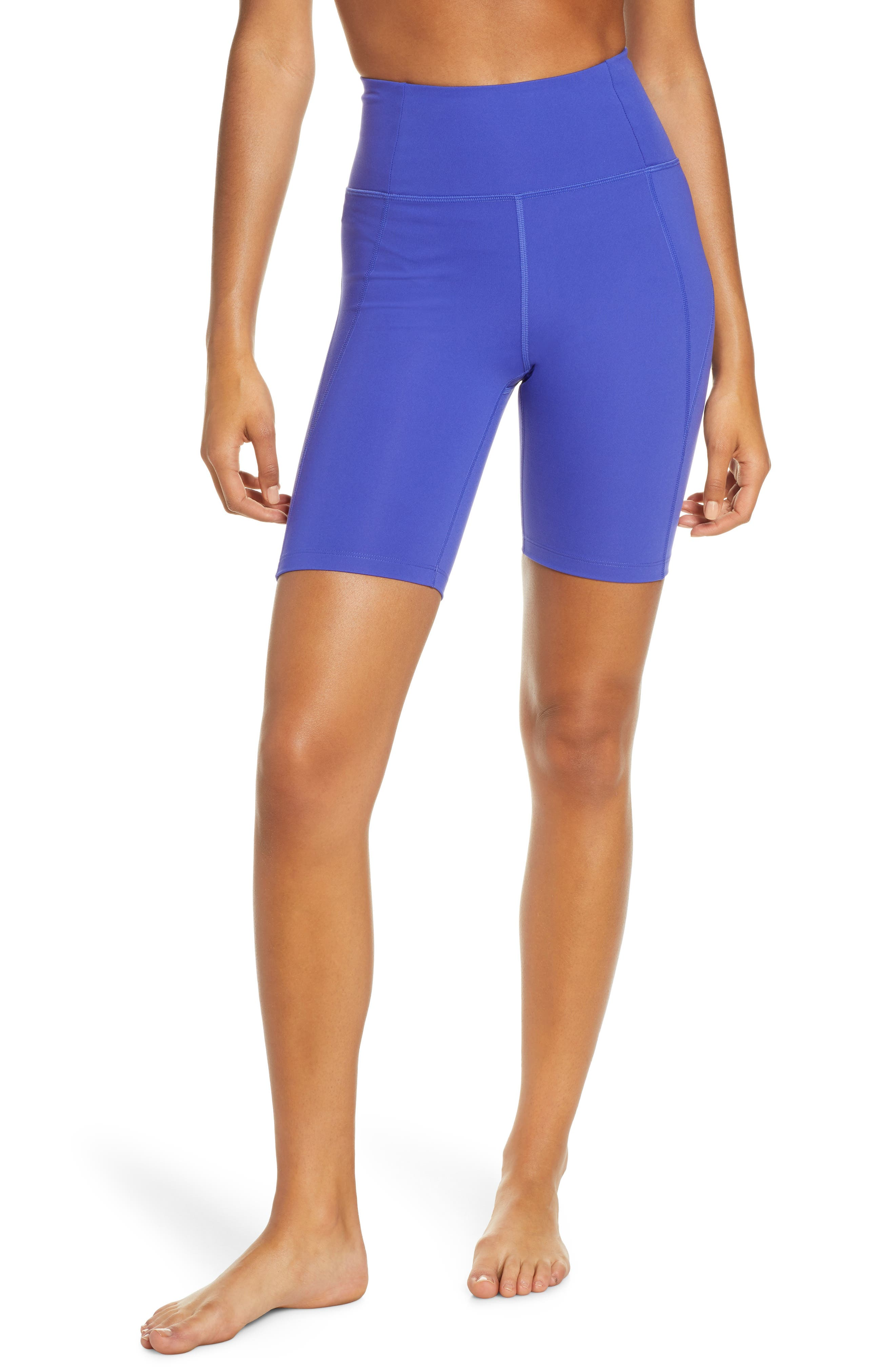 Girlfriend Collective High Waist Bike Shorts, Blue
