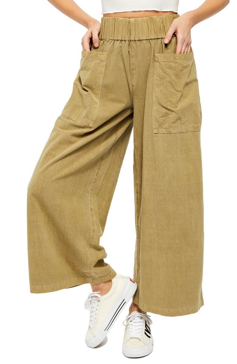 FREE PEOPLE Cosmic Ways Wide Leg Pants, Main, color, JASMINE