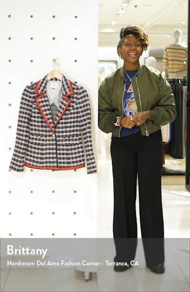 Satin Trim Plaid Tweed Blazer, sales video thumbnail