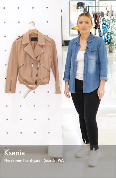 Balfern Lambskin Leather Biker Jacket, sales video thumbnail
