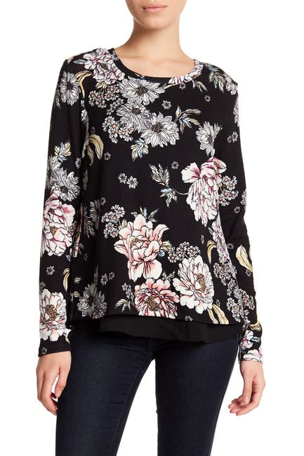 Image of Bobeau Long Sleeve Twofer Printed Knit Sweater