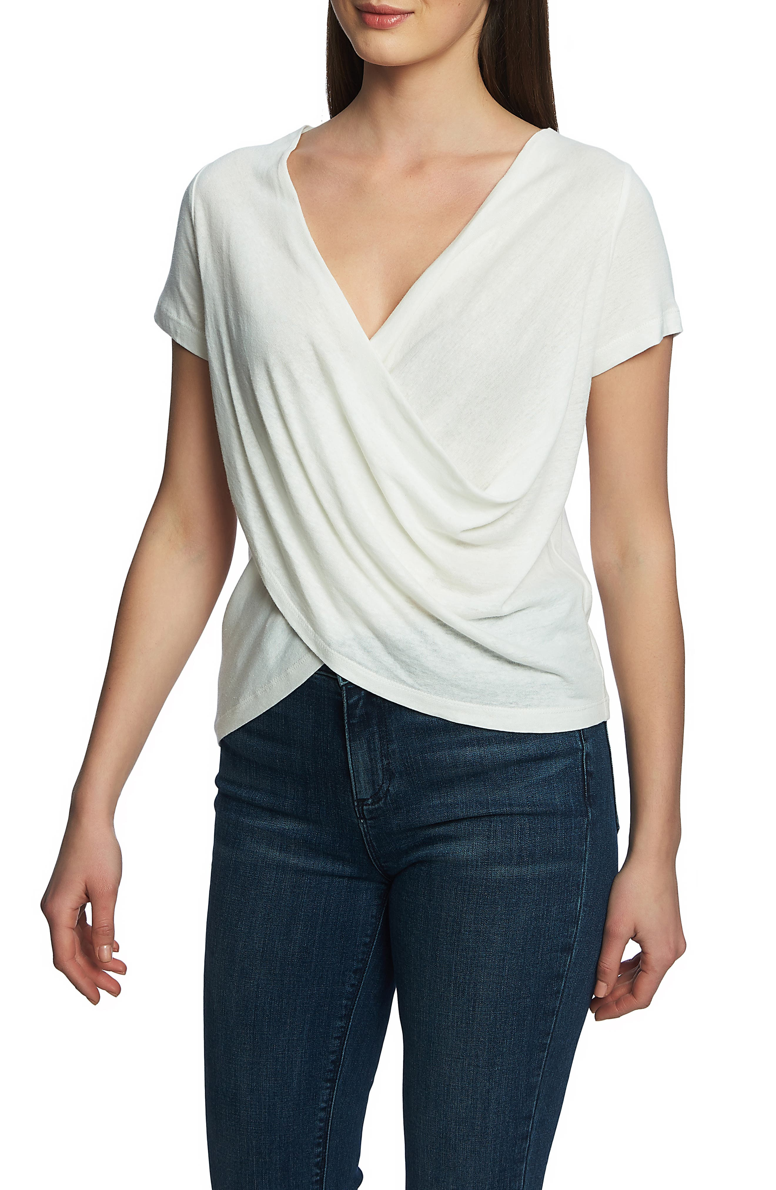 Image of 1.State Wrap Front Linen Blend Top