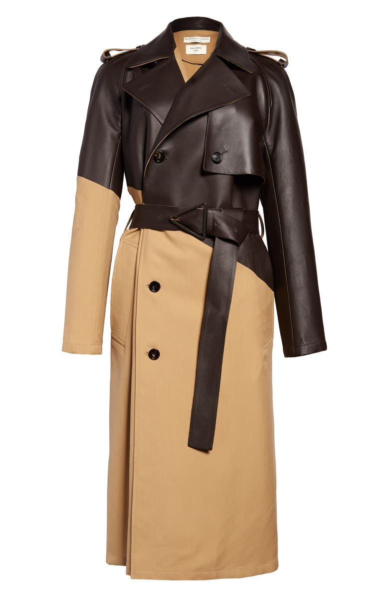 BOTTEGA VENETA Leather & Wool Trench Coat, Main, color, 2640 CAMEL