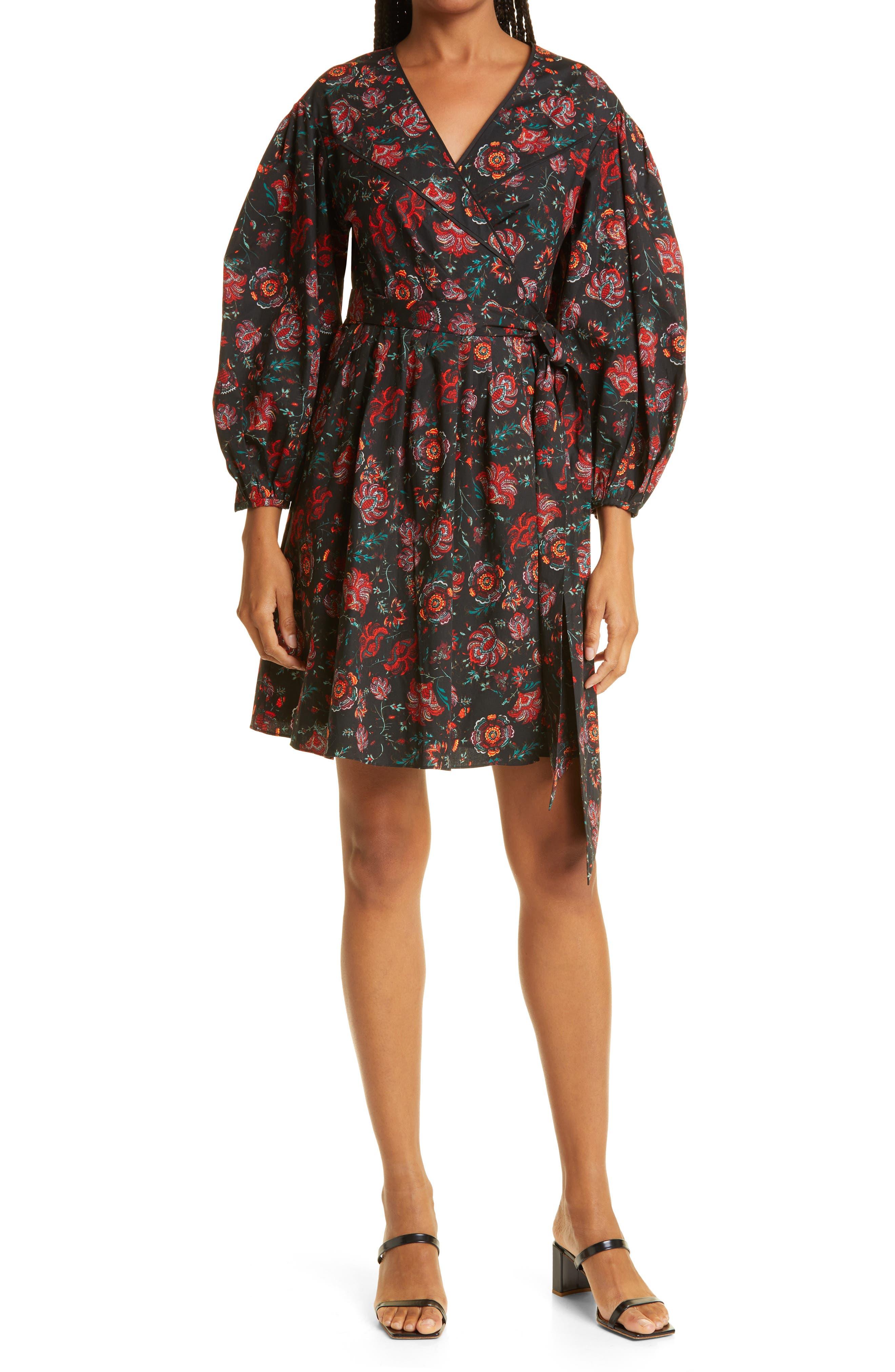 Barbe Floral Print Wrap Minidress
