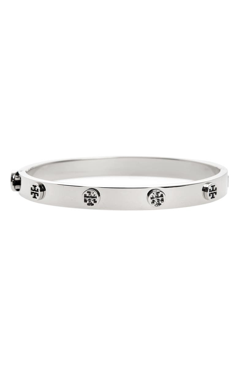TORY BURCH Logo Stud Bangle, Main, color, TORY SILVER