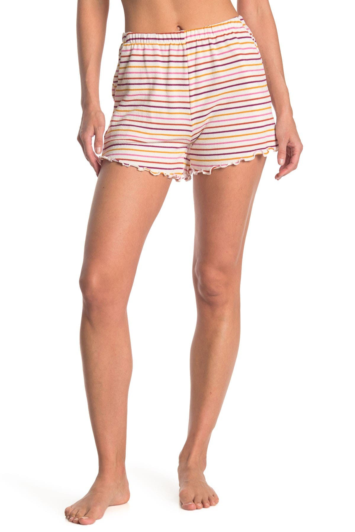 Image of Lush Stripe Lettuce Edge Trim Shorts