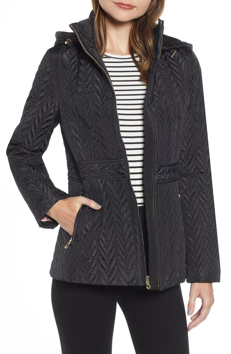 KATE SPADE NEW YORK hooded quilted jacket, Main, color, BLACK